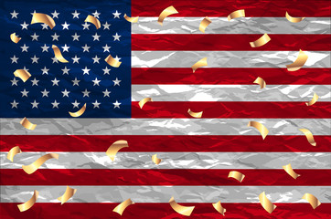 Flag USA 4 th of july gold confetti United States Independence Day Holiday Banner Greeting Card Vector Illustration fireworks art