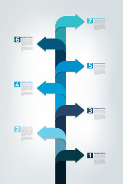 Timeline vertical report, template, chart, scheme, step by step infographic. Vector.