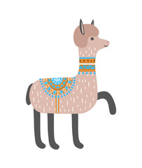 Cute llama isolated on white background. Alpaca. Vector illustration.