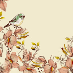 Fototapete - Floral background and cute bird design