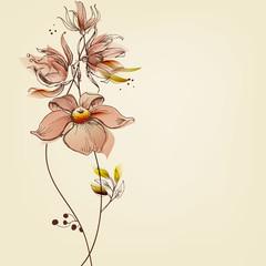 Fototapete - Flowers greeting card