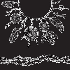 Boho style dreamcatcher design for collar t-shirts. Seamless border from beads.