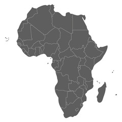 Political blank Africa Map vector illustration isolated on white background. Editable and clearly labeled layers.