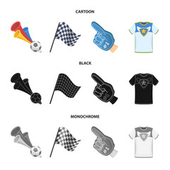 Pipe, uniform and other attributes of the fans.Fans set collection icons in cartoon,black,monochrome style vector symbol stock illustration web.
