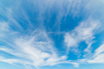 Cirrus clouds and blue sky in springtime