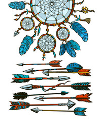 Dream catcher with arrows in boho style. Vector