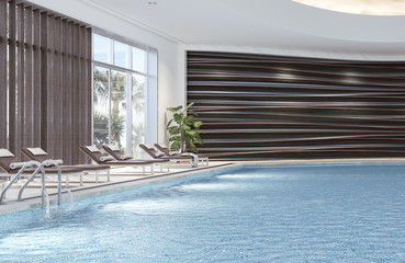 Modern interior design of indoor swimming pool with pool beds, 3d illustration, 3d rendering