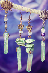 Natural crystal quartz druzy earrings