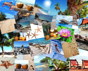 Postcard - Collage - photos from vacation and travel - Postkarte - Sonne, Strand und Meer