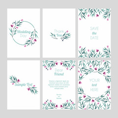 Set of cards with floral design elements. Wedding ornament concept. Vector layout decorative greeting card or invitation design background