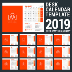 Desk Calendar design template for 2019 year. Week starts on Monday. Three months on page. Vector illustration