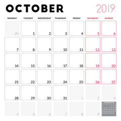 Calendar planner for October 2019. Week starts on Monday. Printable vector stationery design template