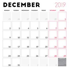 Calendar planner for December 2019. Week starts on Monday. Printable vector stationery design template