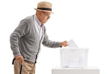 Mature man voting