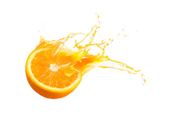 Wall Murals Juice Collection of Fresh half of ripe orange fruit floation with orange juice splash isolated on white background