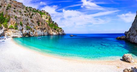Amazing cristal clear sea of Karpathos island. Beautiful Kyra panagia beach. Greece