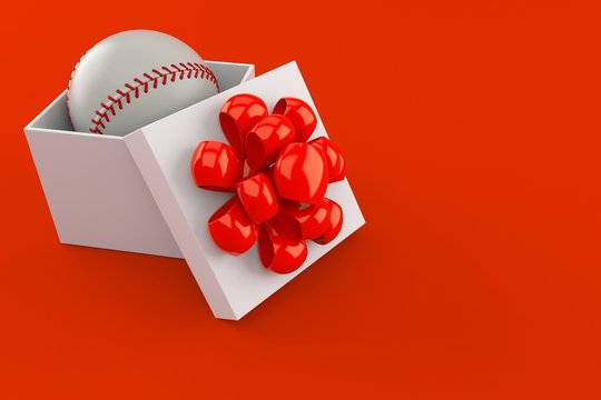 Baseball ball inside gift