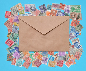 Stamps and brown envelope