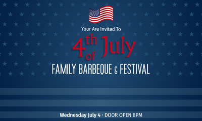 Happy independence day of America invitation - Barbeque party 4th of July.