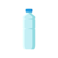 Small plastic bottle with blue lid. Empty container for mineral water or juice. Flat vector element for advertising flyer or banner