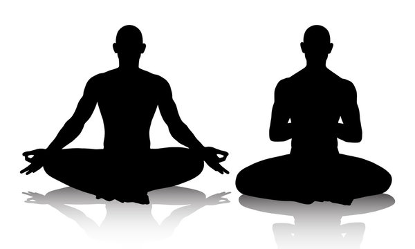 Silhouttes of men practicing yoga in the lotus position