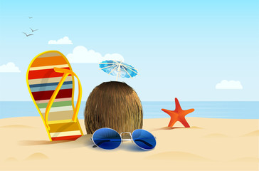Still-life on summer beach with flip, coconut and sunglasses