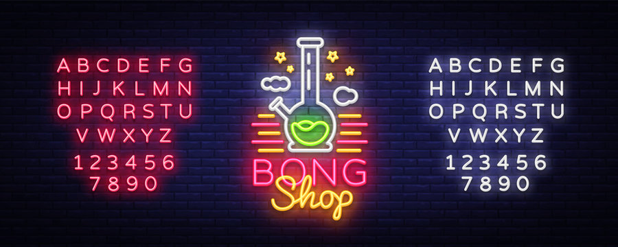 Bong Shop neon sign. Logo design template for shop advertising or signage. Tobacco Smoking Apparatus. Vector illustration. Editing text neon sign