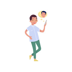 Cheerful teen boy video chatting with his friend over mobile phone. Modern technologies and communication theme. Flat vector design