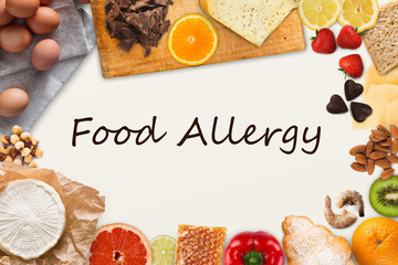 Set of allergic food with black text