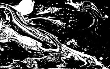 Black and white liquid texture. Marbled illustration. Abstract vector background. Monochrome marble pattern.
