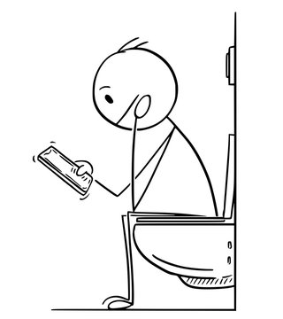 Cartoon stick drawing conceptual illustration of man or businessman working, reading or messaging on mobile phone while sitting on toilet in bathroom.