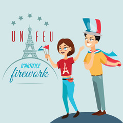 Man and woman on national holiday france, people with flags in hand walking down street against background of eiffel tower on Bastille Day vector illustration
