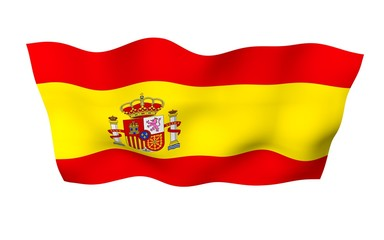 The flag of Spain. Official state symbol of the Kingdom of Spain (Spanish: Reino de Espana). Concept: web, sports pages, language courses, travelling, design elements. 3d illustration