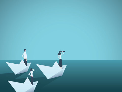 Business woman leader vector concept with businesswoman in paper boat leading team. Symbol of equality, woman power, leadership, vision.