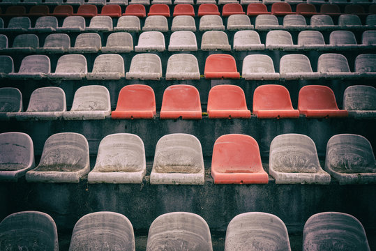Vintage Stadium Chairs old time not used with dust red and white colors