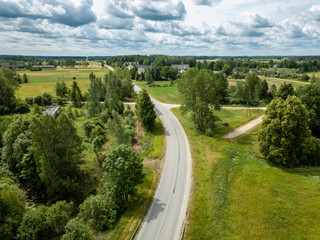 drone image. aerial view of rural area with fields and road network
