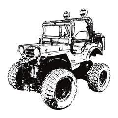 モノクロのレトロな四輪駆動車
