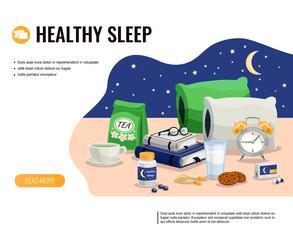 Healthy Sleep Vector Illustration