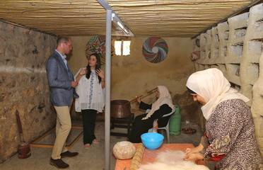 Britain's Prince William visits the Princess Taghrid Institute for Development and Training in the province of Ajloun, north of the Jordanian capital Amman