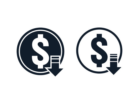 dollar decrease icon. Money symbol with arrow stretching rising drop fall down. Recession Business. cost reduction icon. vector illustration.