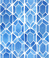 Watercolor mosaic background with diamonds and triangles in blue. Stained glass imitation. Hand painted seamless geometric pattern