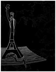 Dessin en noir et blanc de la Tour Eiffel et de la Statue de La Liberté entremêlées symbolisant l'amitié France USA
