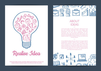 Vector business doodle icons card, flyer or brochure template illustration