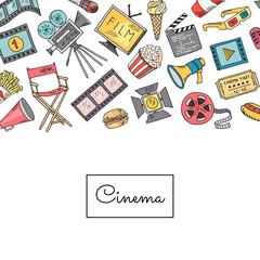 Vector cinema doodle icons background illustration