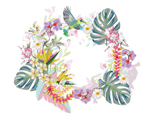 Series of invitation frame backgrounds with summer and spring flowers and leaves. Colorful  floral garlands with peonies, green palm leaves and flamingos. Vector illustration.