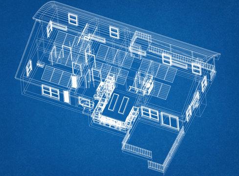 House With Solar Panels Architect Blueprint