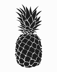 Illustration of pineapple. Black and white print of pineapple. Picture of an exotic fruit. Fresh vitamins.