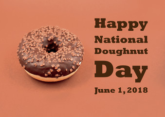 Happy donut day Illustration. Chocolate donut with nuts stock images. Donut on a brown background. American feast of donuts. Donut with chocolate frosting and nuts. Important day