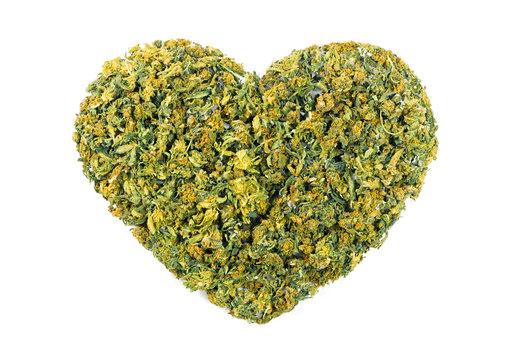Marijuana flowers in the shape of heart