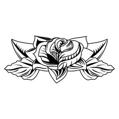Flower tattoo drawing vector illustration graphic design